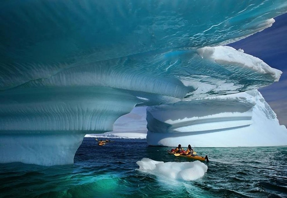 Kayaking around glaciers in Alaska