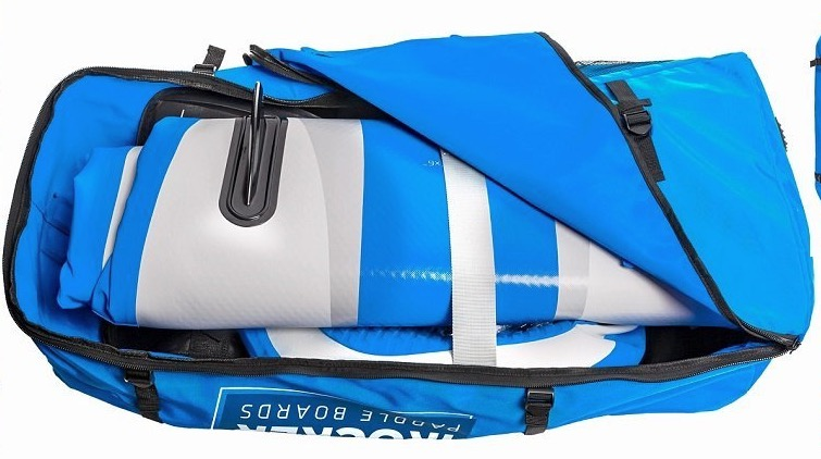 iRocker inflatable stand up paddle board - easy transport with backpack