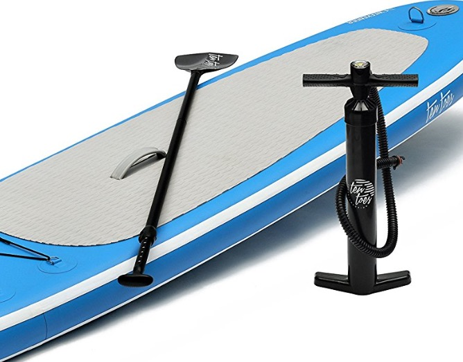 Ten Toes 10' Weekender Inflatable Stand Up Paddle Board - detail of deckpad paddle and pump