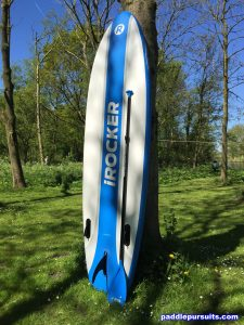 iRocker Cruiser 10'6 standup paddleboard - bottom view with fiberglass SUP paddle